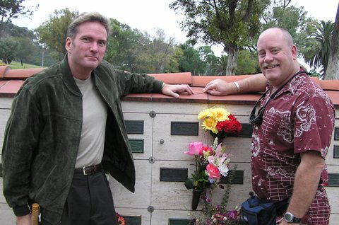 Butch and I visiting the niche of his late mom